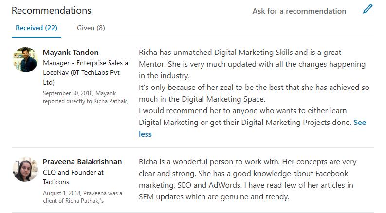 Richa Pathak Digital Marketing Consultant Trainer LinkedIn