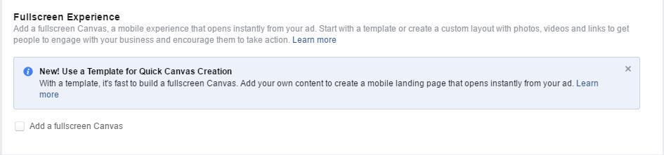 14 Facebook Ads - Fullscreen Canvas Experience