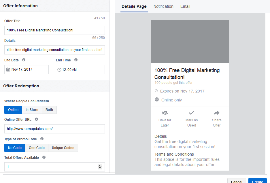 7 Facebook offer ads preview