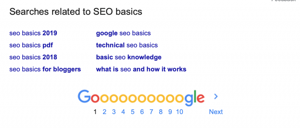 list of related searches in google