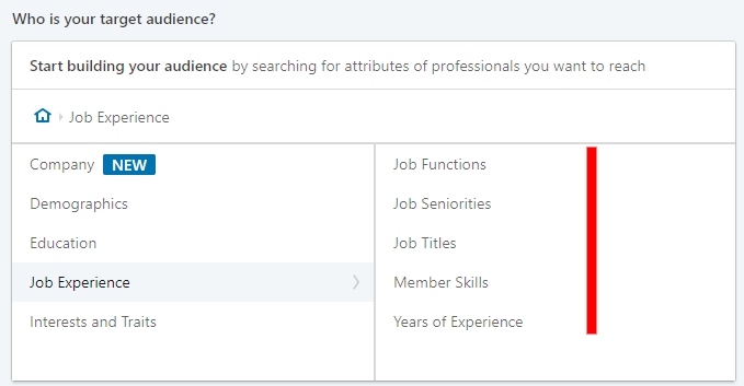 linkedin advertising - job experience setting