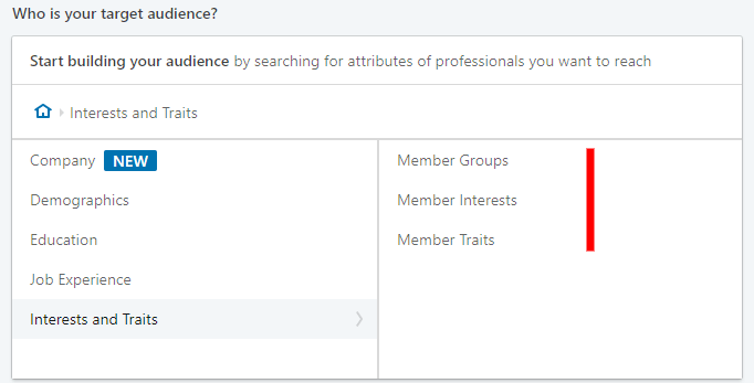 linkedin advertising - audience interest setting