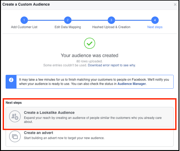 5-Create Facebook Lookalike Audience