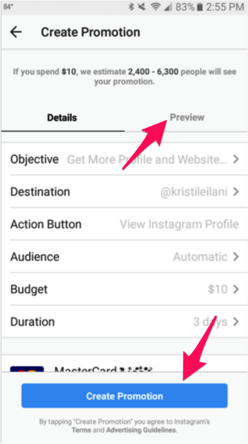7. insta video ads - create a promotion