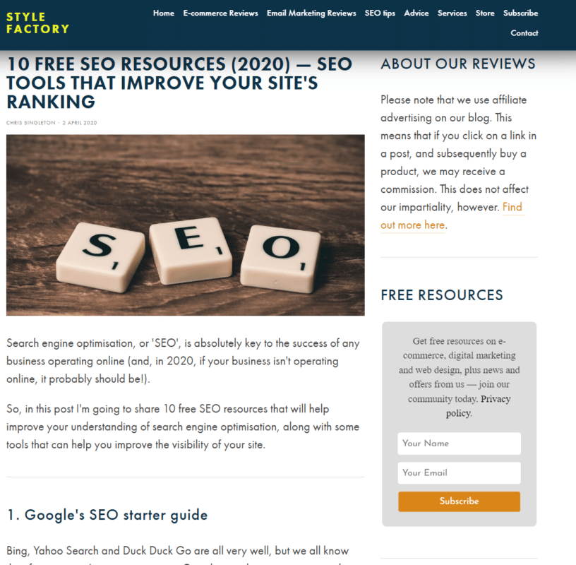 white hat SEO techniques - resource page