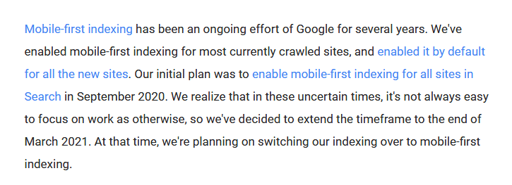 Google webmaster mobile first indexing