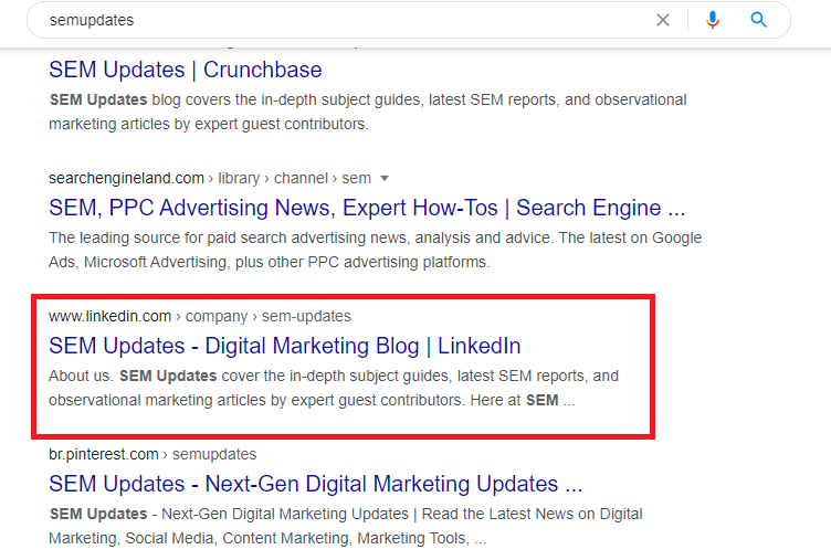 soccial media profiles ranks higher in search results